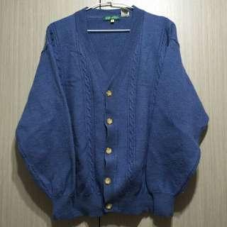 古著/HANG TEN牛仔藍色全羊毛麻花針織外套毛衣外套