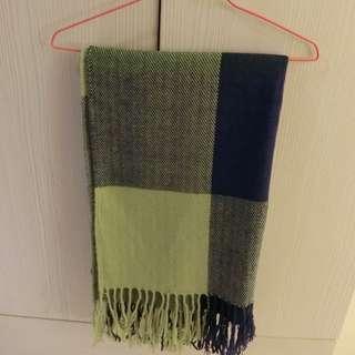 全新~California 藍綠色格子圍巾/披巾