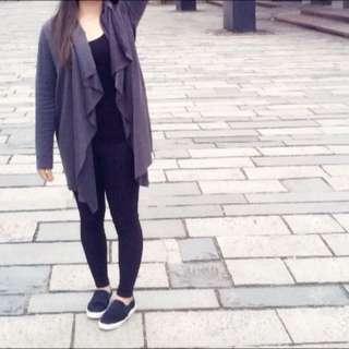 韓版 灰黑色條紋長版外套