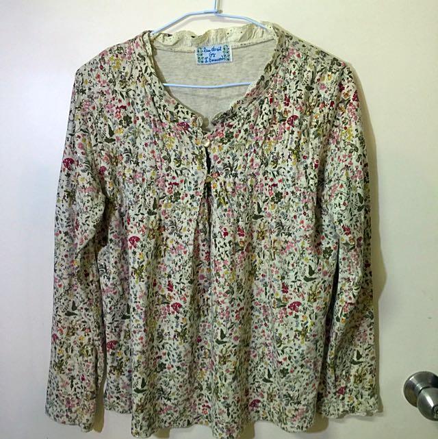 日本製純棉花卉上衣
