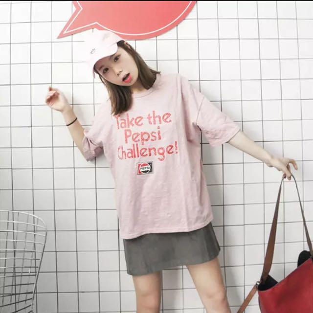 💡韓國百搭簡約字母粉色衣