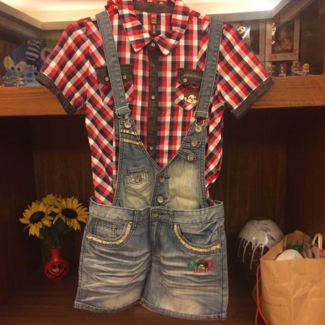 專櫃 夢奇奇 吊帶牛仔短褲 紅色格子襯衫