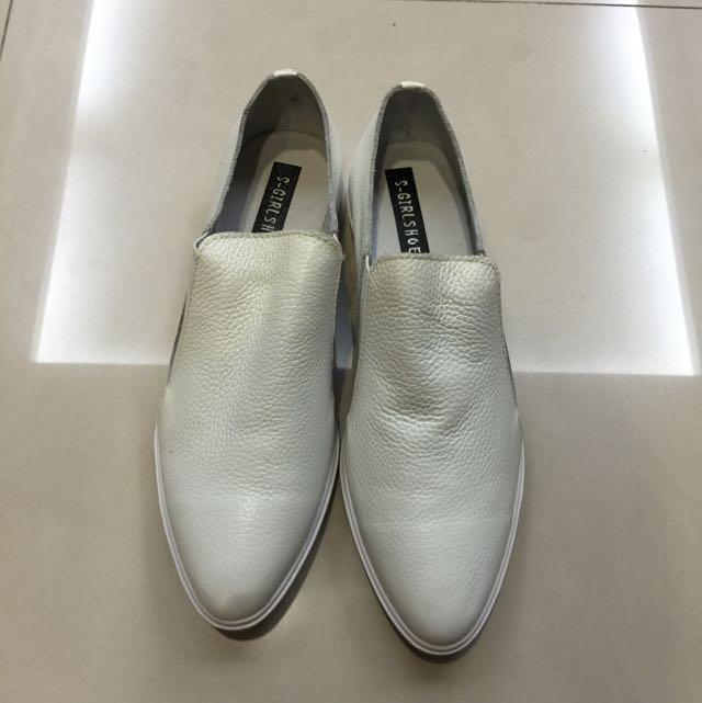 文青 潮女 全牛皮 白色牛津鞋