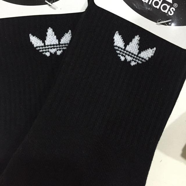 翻玩  三葉草 adidas 小腿 襪 ( 黑 款 ) ( 長度至小腿 )