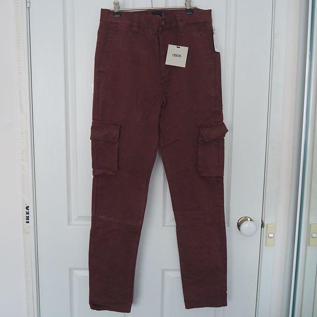 ASOS Burgundy Cargo Pants NEW