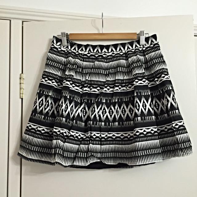 Black And White Aztec Skirt