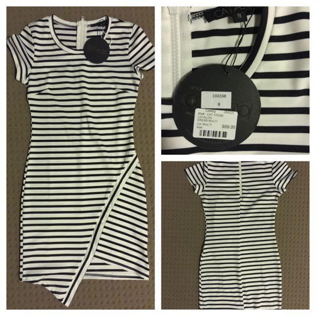 Brand New* Catalog Black & White Stripes Dress
