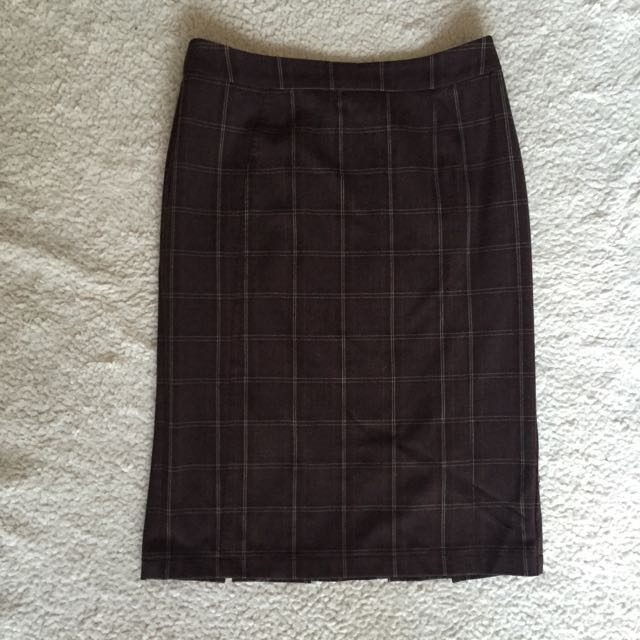 Brown Plaid Work Skirt S8