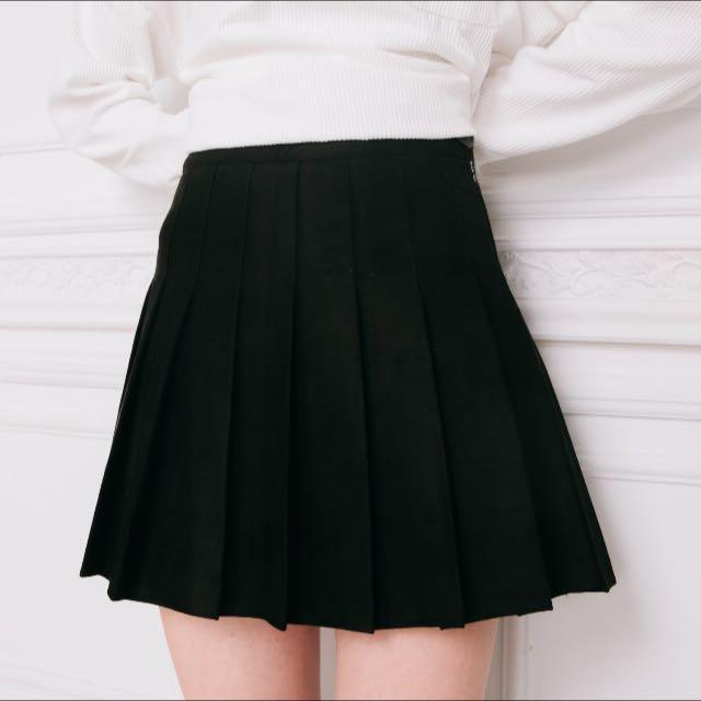 Cu'nz 麂皮百摺褲裙