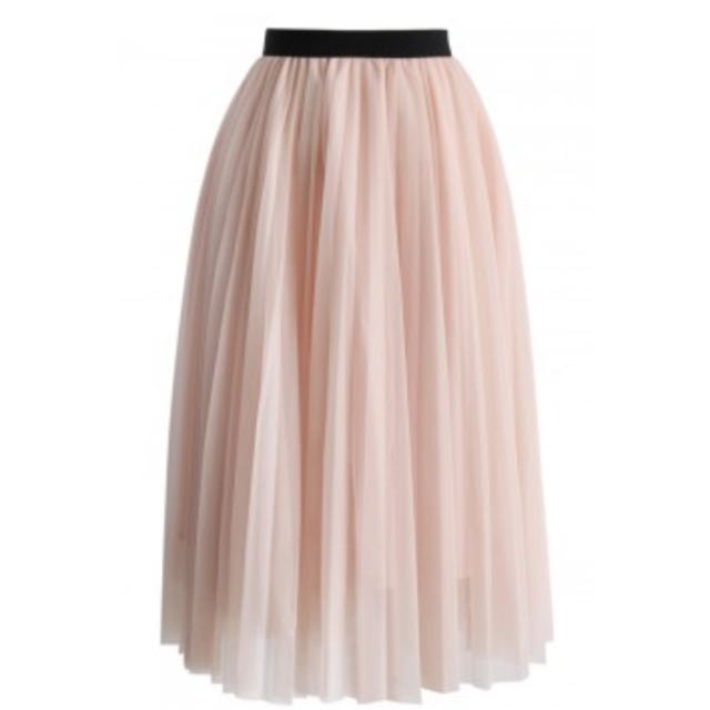 Dreamy Pink Pleated Tulle Skirt