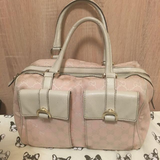 Gucci粉色布面手提發財方包
