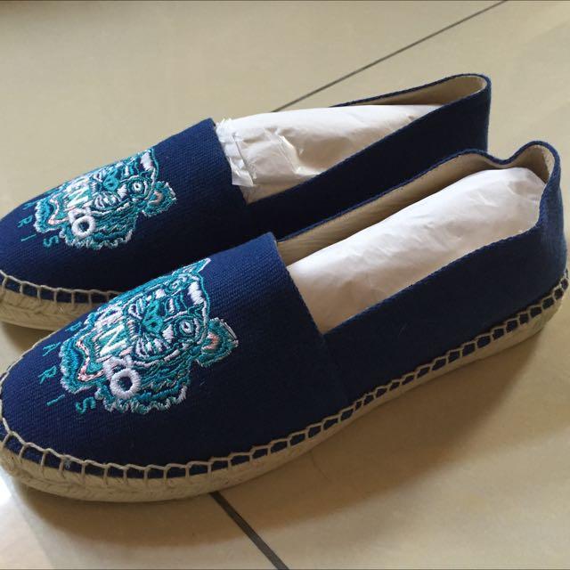 正品 KENZO草編虎頭鞋