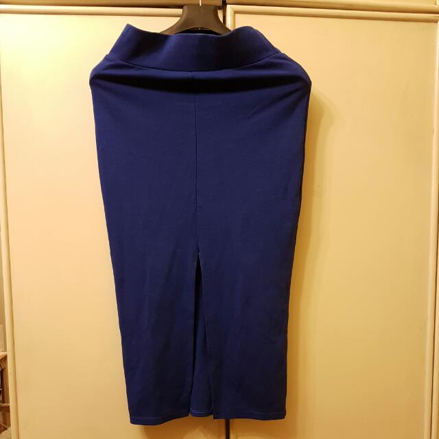 Midi Cobalt Blue Skirt With Slit
