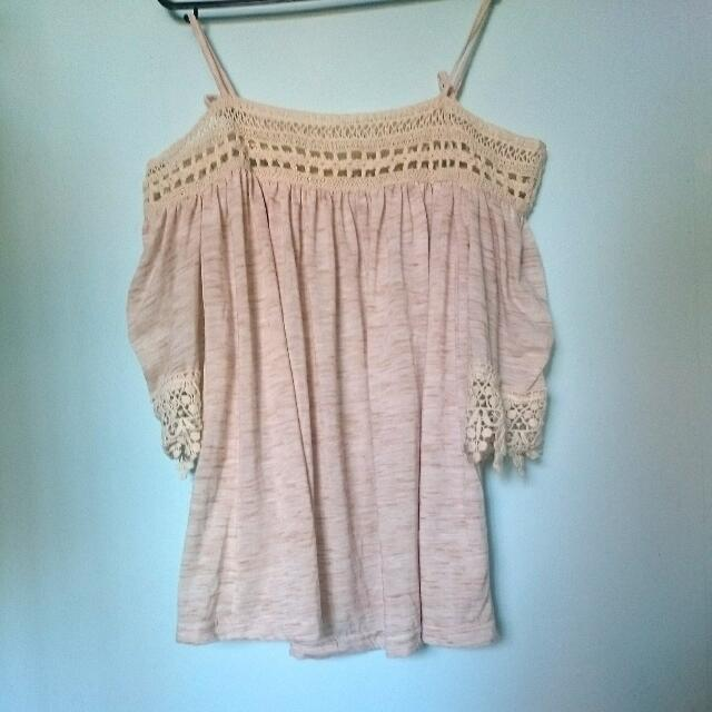 Off The Shoulder Cream Lace Top