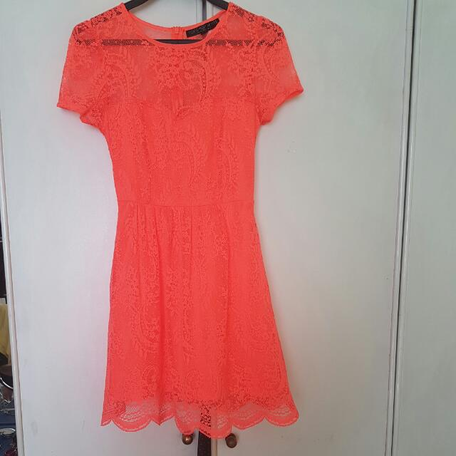 Pretty Topshop Petite Orange Dress