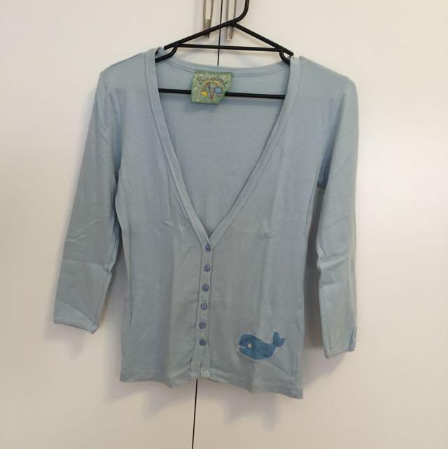 Scrapbook Blue Cardigan - Size Medium