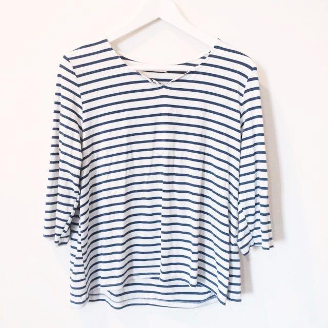 Starmimi自訂款小v領條紋上衣