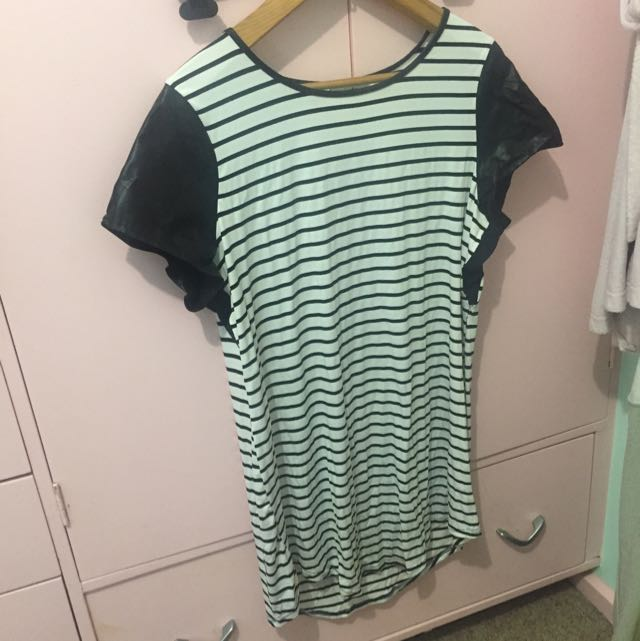 Striped Tshirt/dress With Faux Leather Sleeves