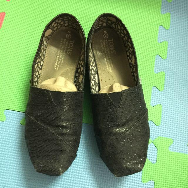 TOMS 黑色金蔥 平底鞋