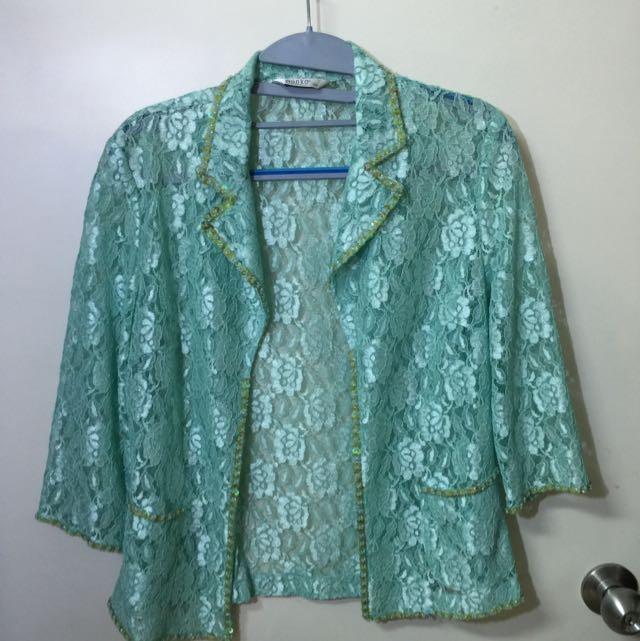全新Wanko粉綠蕾絲亮片外套
