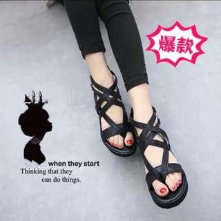 韓版時尚坡跟交叉羅馬厚底涼鞋