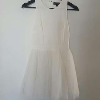 White Dress With Tule Skirt