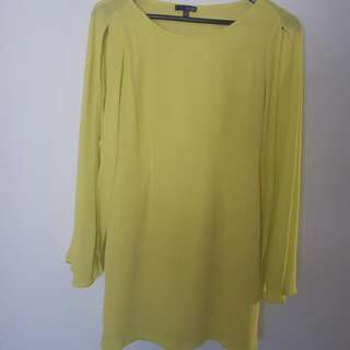 Ladakh Yellow Dress With Cut-out Long Sleeves