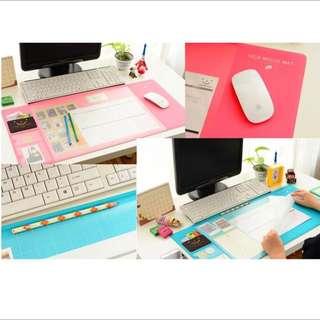 (轉賣GOMAJI)超大機能兩層收納辦公桌墊 粉色