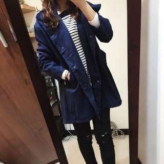 (保留)藍色蜜桃絨風衣外套