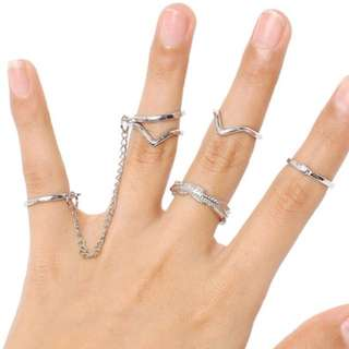 [INSTOCK] Silver 6 Pcs Leaves Ring