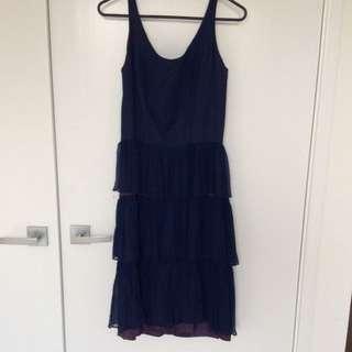 Vintage Navy Blue Layered Dress Sz 8
