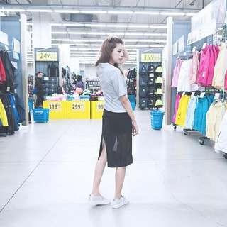 Iohll 透明 黑色 網紗 褲 裙 韓