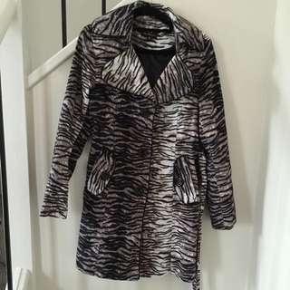 Zebra Patterned Coat/Trench