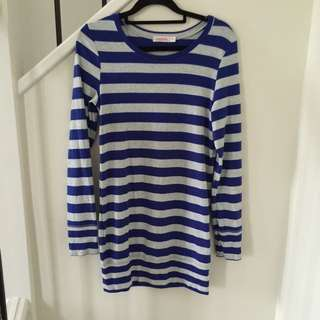 2x Long Banded Striped Tops (blue/grey, purple/grey)