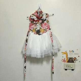 童裝旗袍拼接白紗禮服洋裝5號