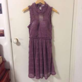 Violet Lace Open Back Dress