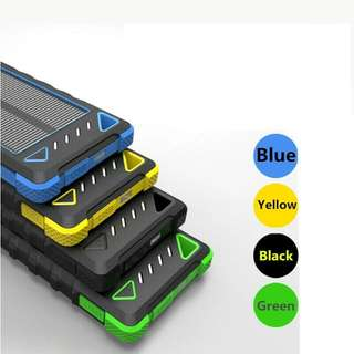 10000mAh 3-in-1 Solar Phone Charger + Power Bank For Both Indoor And Outdoor Charging. (Black/Green/Blue)