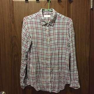 UQ格紋長袖薄襯衫