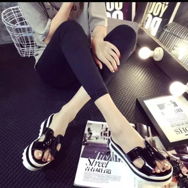 2016韓版新款H厚底拖鞋