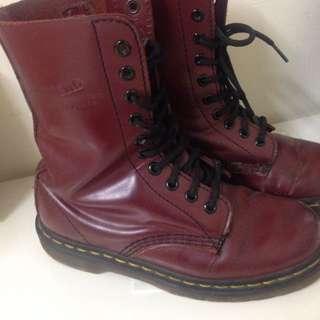 Dr.Martins 十孔 酒紅 馬丁靴