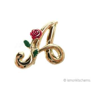 Vintage 80s L. Razza Initial A Brooch, Gold-plated Goldtone Rose 1980s bh36