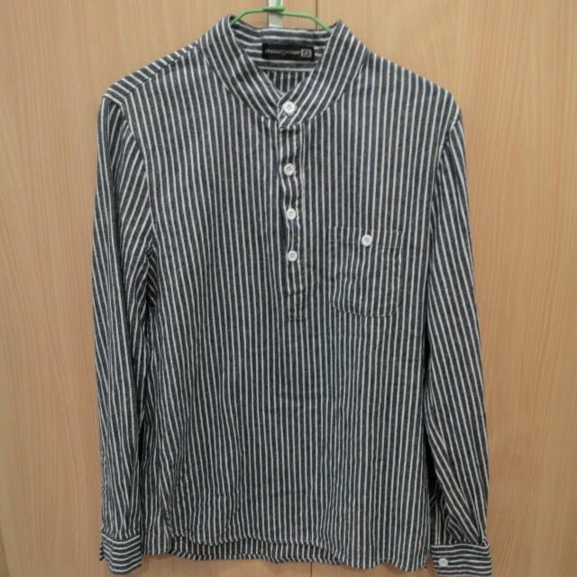 (全新含運)立領套頭藍白條紋襯衫