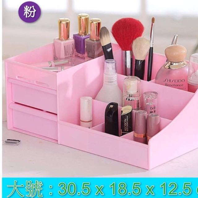 不用再等了!現貨限量供應中~韓式化妝品收納盒 多功能桌上收納盒 可水洗 免組裝