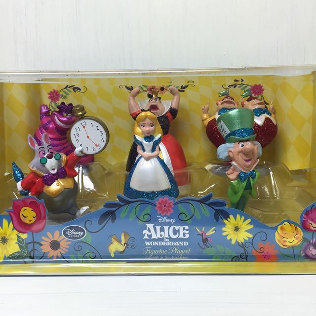 📢現貨在台 日本迪士尼 愛麗絲公仔組 亮粉公仔 妙妙貓 紅心皇后 瘋帽 愛麗絲