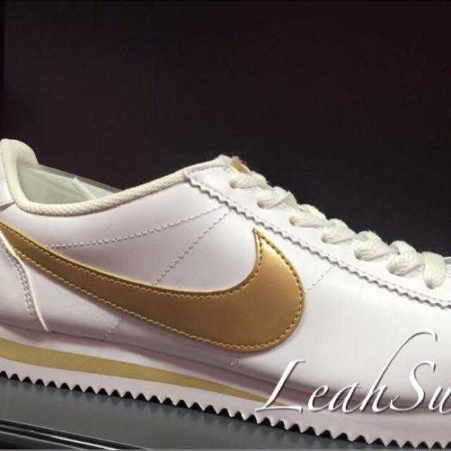 日本連線 Nike 人氣定番 Classic Cortez Leather 阿甘鞋 白 金勾 預購