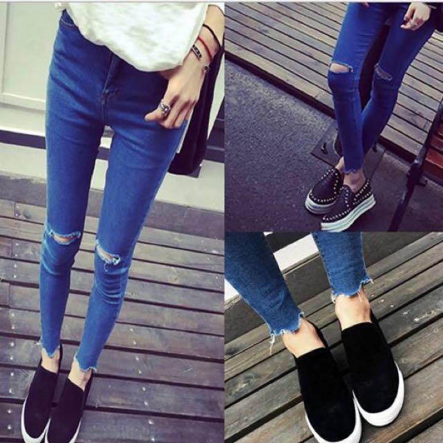 A藍色簡約破洞牛仔褲女韓版彈力緊身小腳褲
