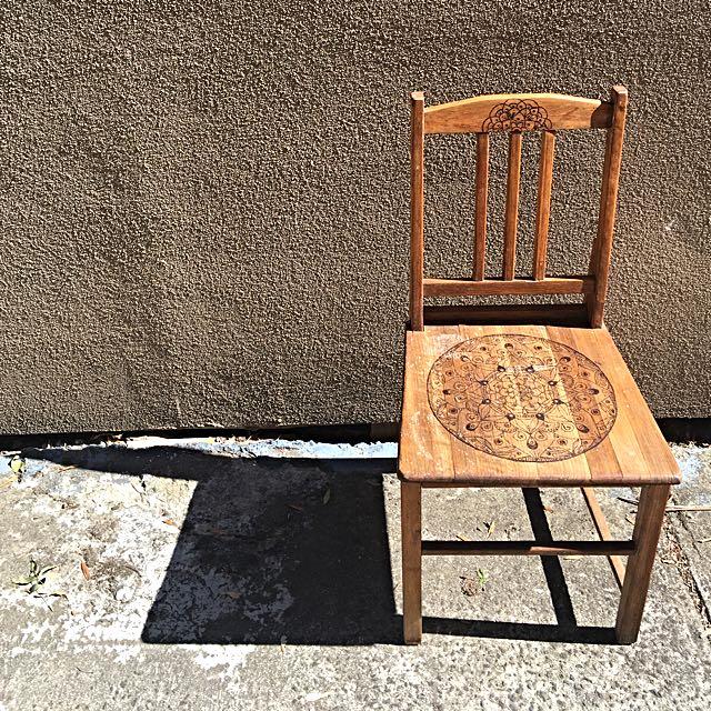 *Price Drop* Amandala Life-  Upcycled Timber Chair Woodburn Mandala Design