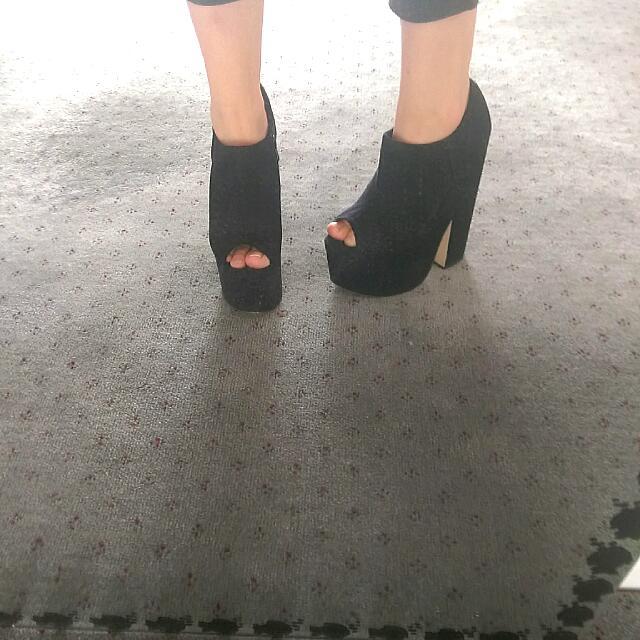 Black Peep Toe Boot Heels