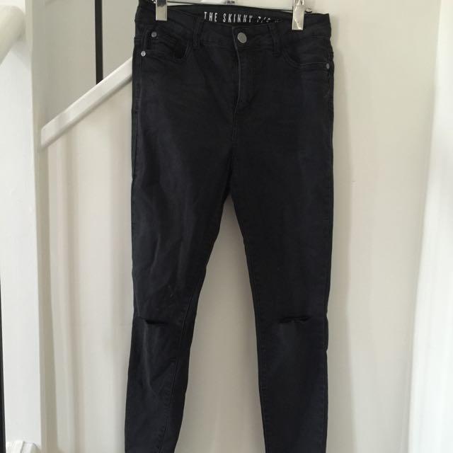 Black Skinny High Rise 7/8 Jeans