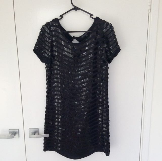 French Connection Black Sequence Dress Sz 8